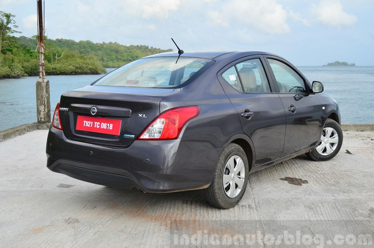 2014 Nissan Sunny facelift petrol CVT review rear three quarters