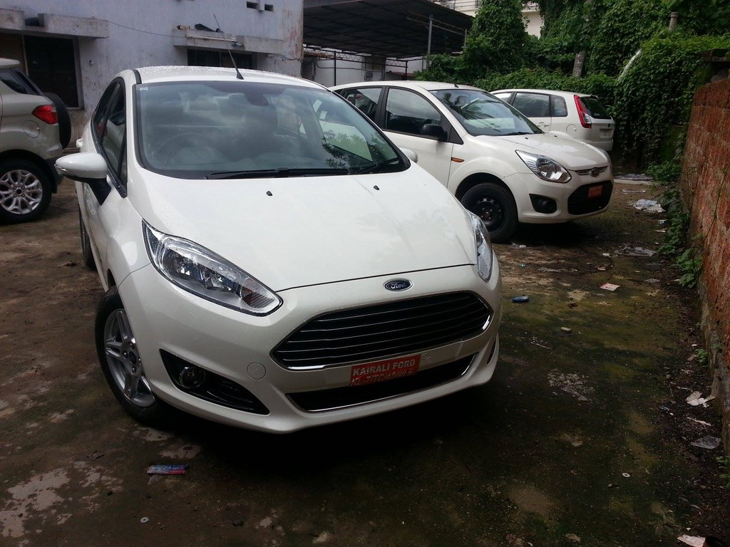 Front of the Ford Fiesta facelift spied in Kochi