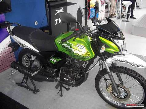 Front three quarters of the TVS Max 125 on-off road Indonesia