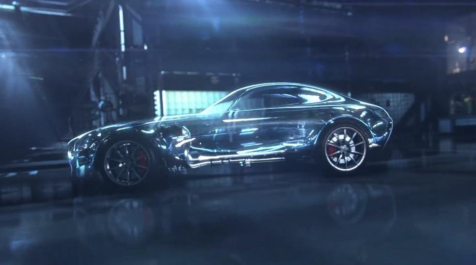 Mercedes AMG GT side profile teaser video screen grab