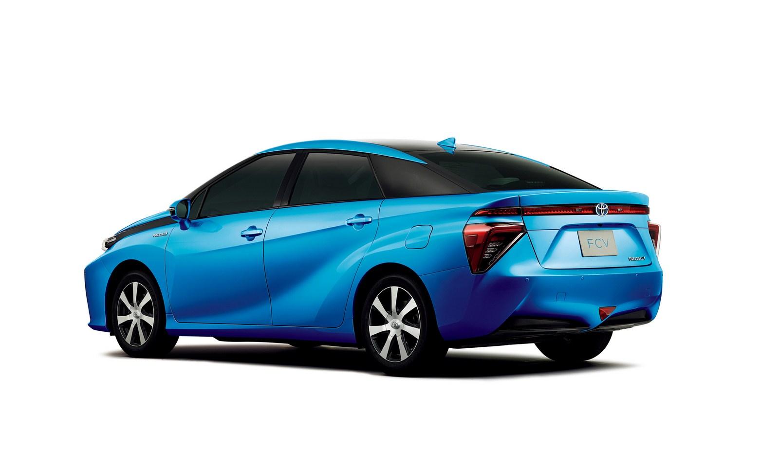 Toyota FCV sedan studio shot rear three quarters