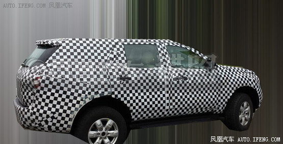 next gen Ford Endeavour spied in China rear three quarters