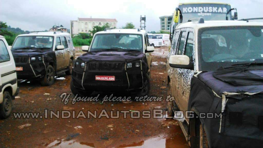 2014 Mahindra Scorpio facelift testing trio
