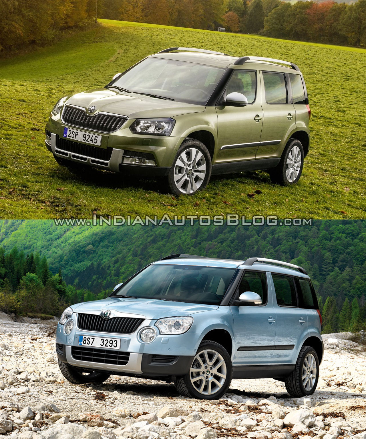2014 Skoda Yeti facelift vs old Skoda Yeti front three quarter