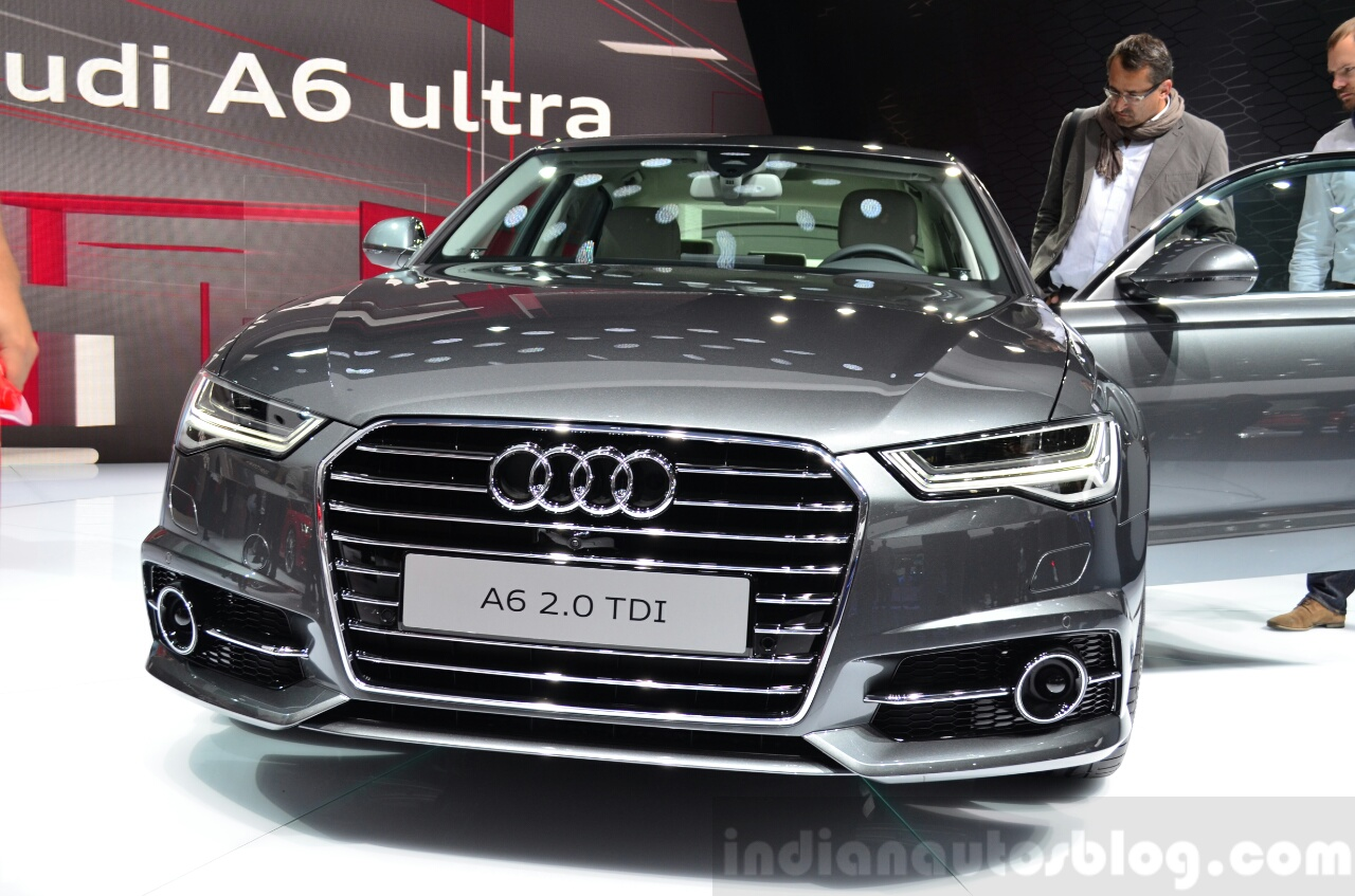 Audi A6 facelift front fascia at the 2014 Paris Motor Show