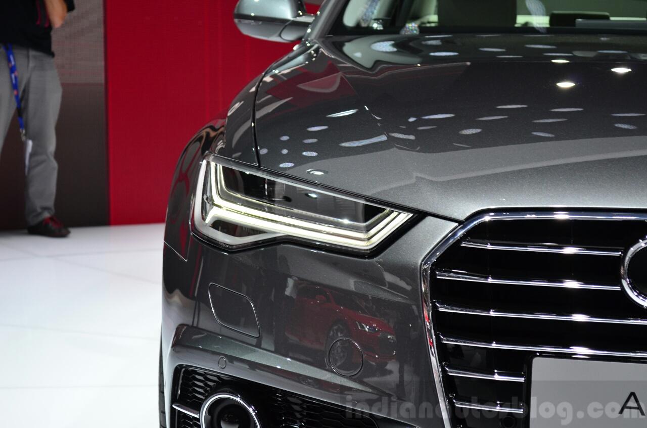 Audi A6 facelift headlamp at the 2014 Paris Motor Show