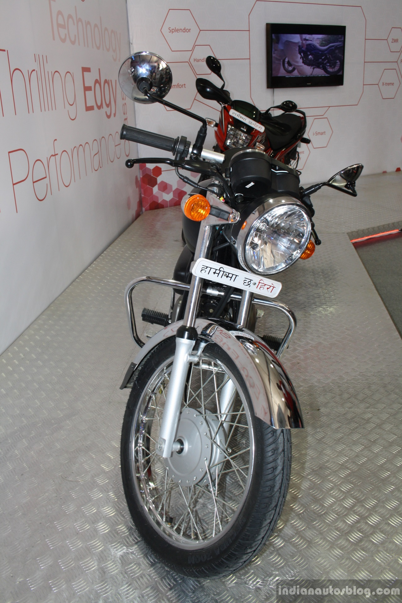 Hero Splendor Pro Classic front at the 2014 Nepal Motor Show