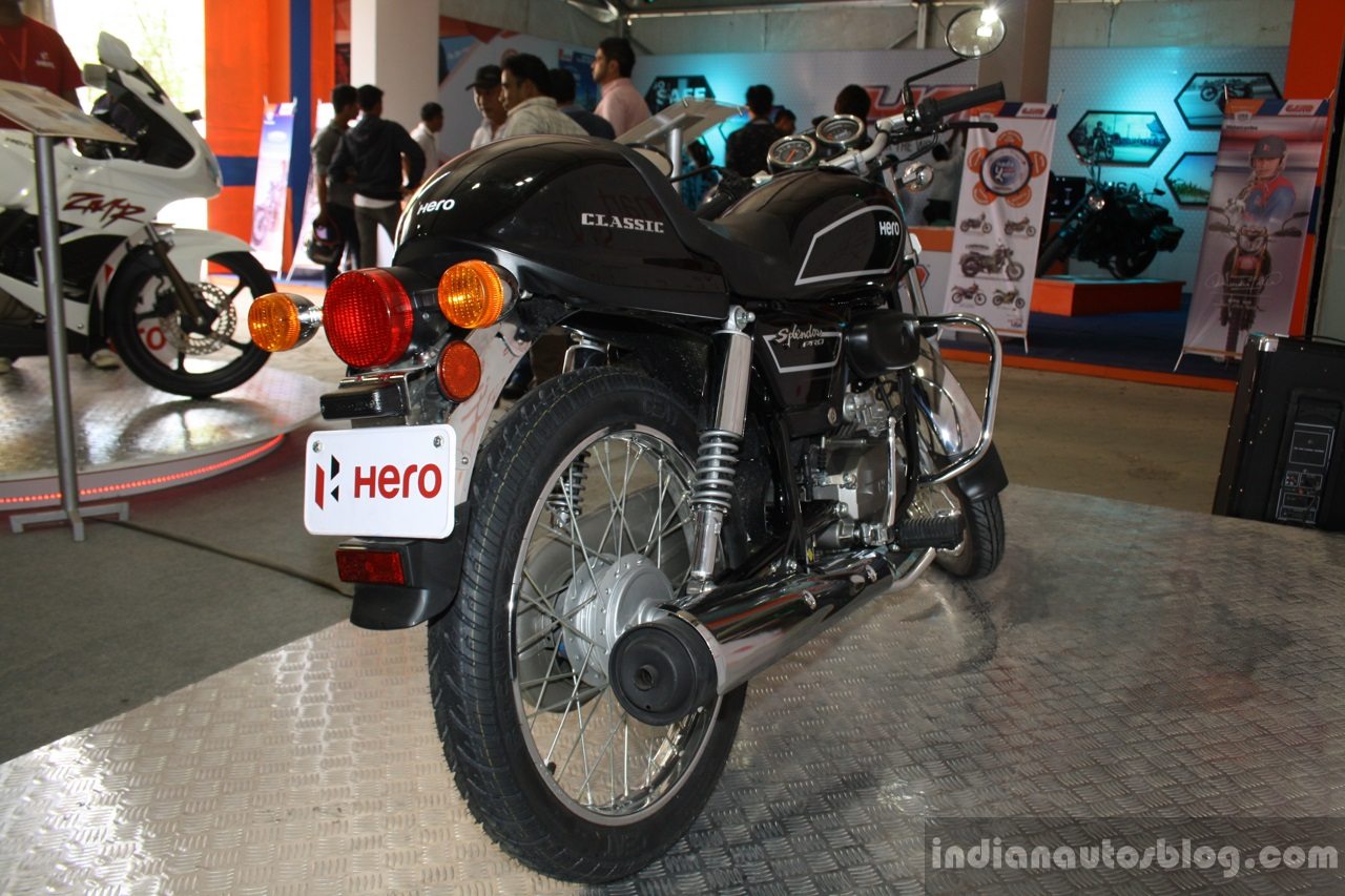 Hero Splendor Pro Classic rear three quarter at the 2014 Nepal Motor Show