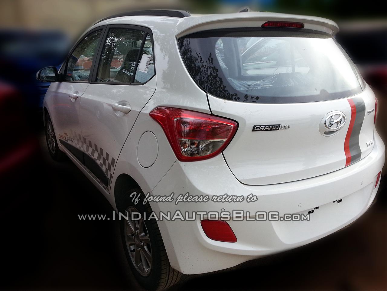 Hyundai Grand i10 SportZ edition rear three quarters left