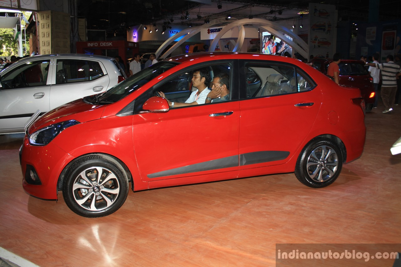 Hyundai Xcent side at the 2014 Nepal Auto Show