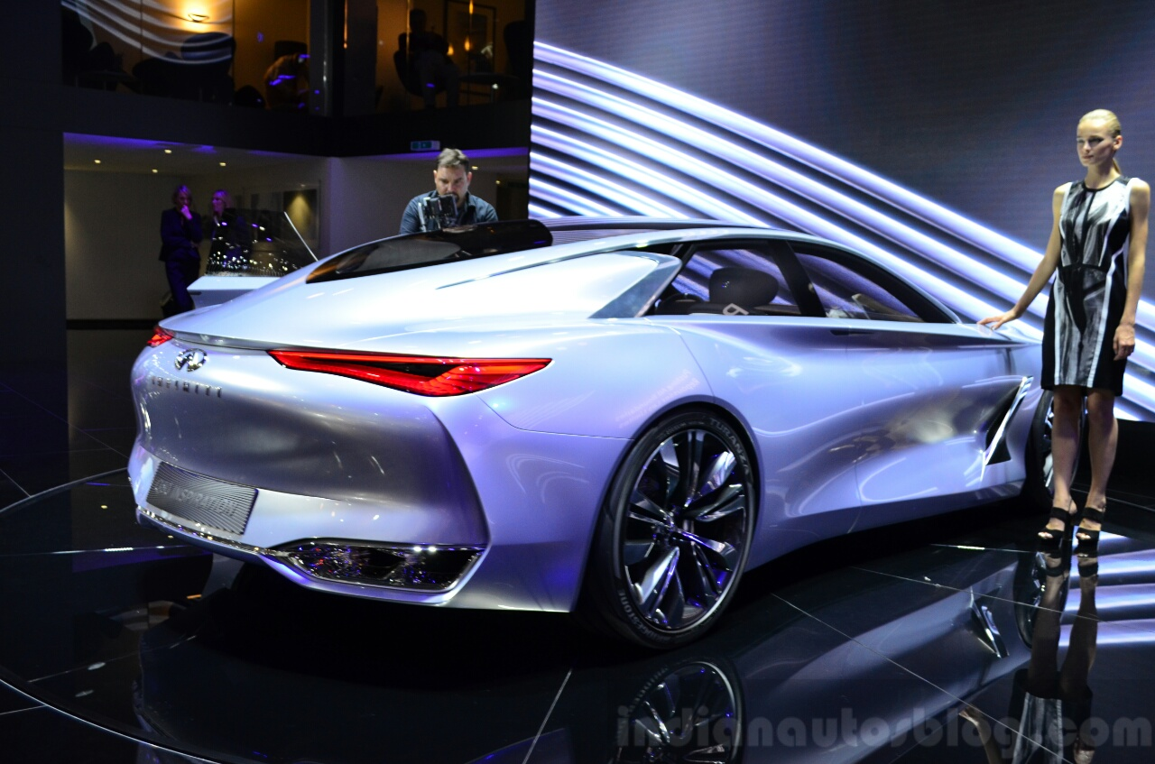 Infiniti Q80 Inspiration Concept rear three quarters zoom out at the 2014 Paris Motor Show