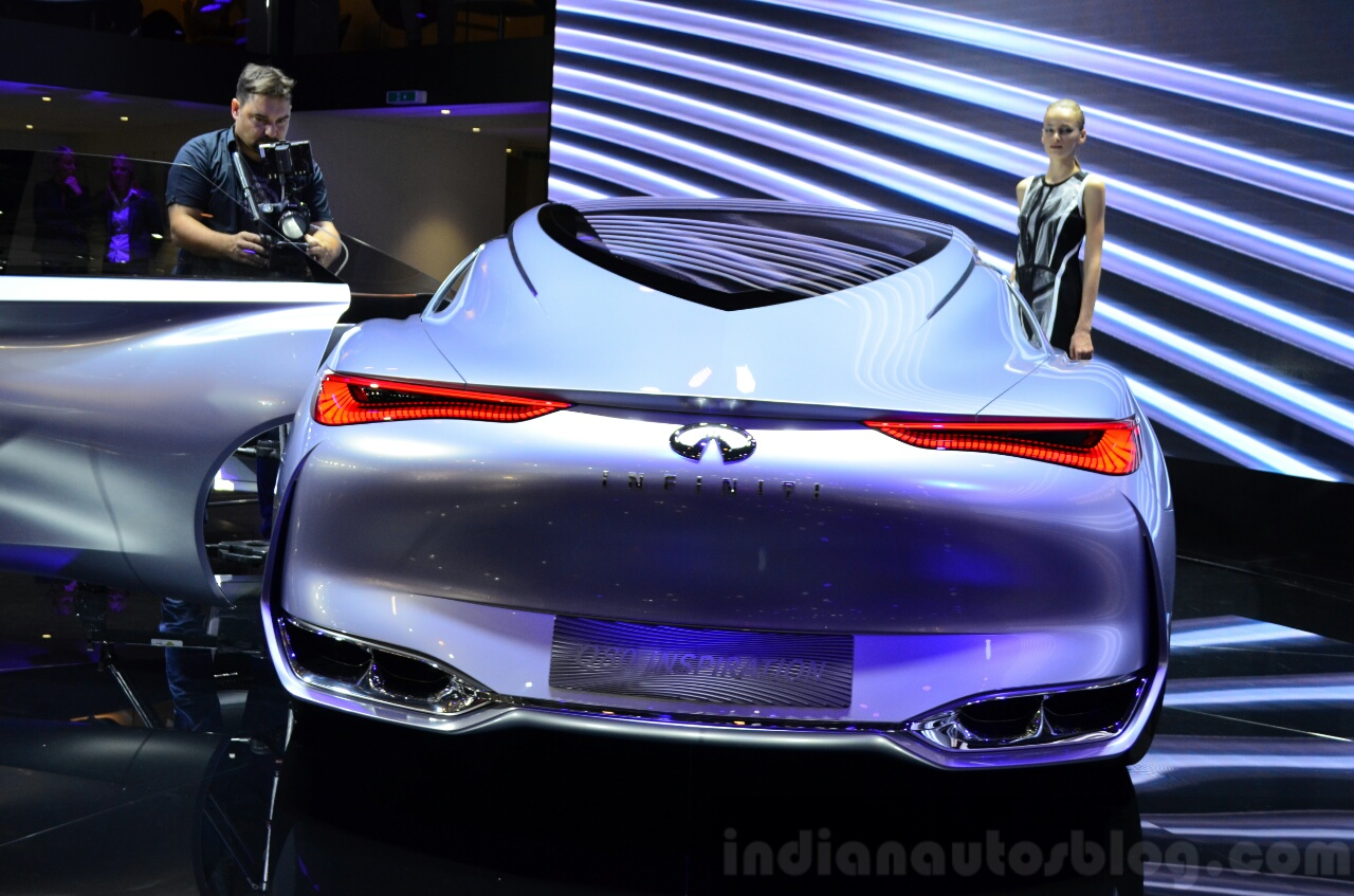 Infiniti Q80 Inspiration Concept rear view at the 2014 Paris Motor Show