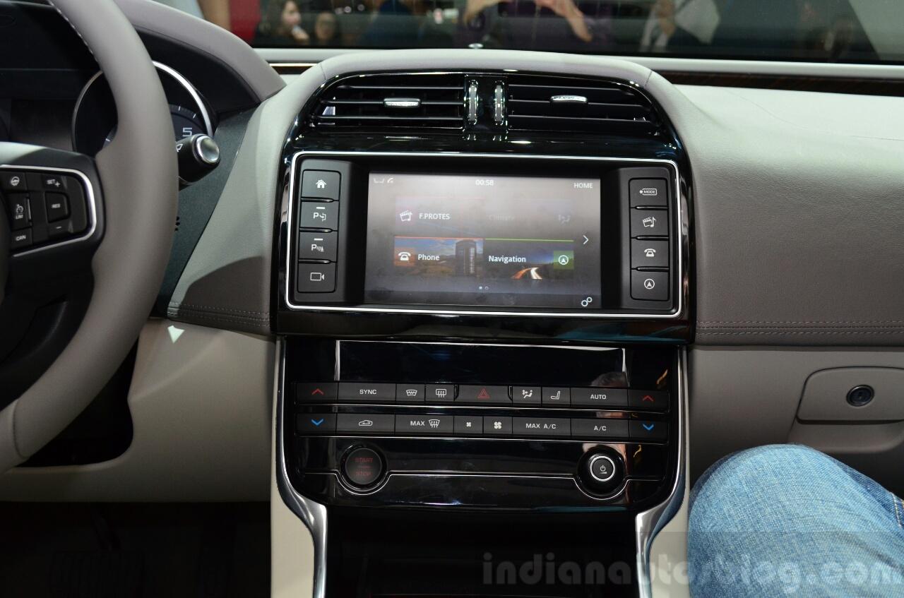 Jaguar XE display and controls at the 2014 Paris Motor Show