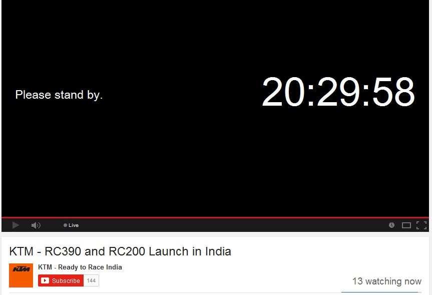 KTM RC390 and RC200 launch countdown
