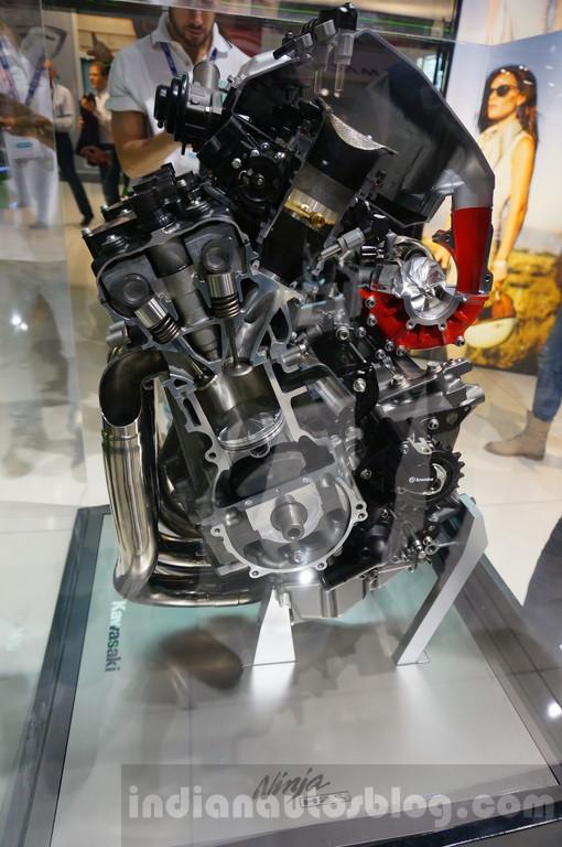 Kawasaki Ninja H2R engine at INTERMOT 2014