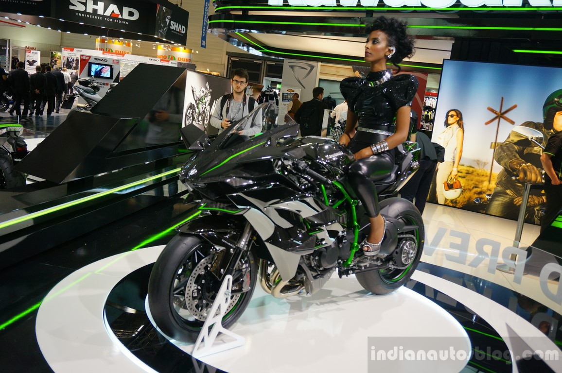 Kawasaki Ninja H2R Front Three Quarters Angle At INTERMOT 2014