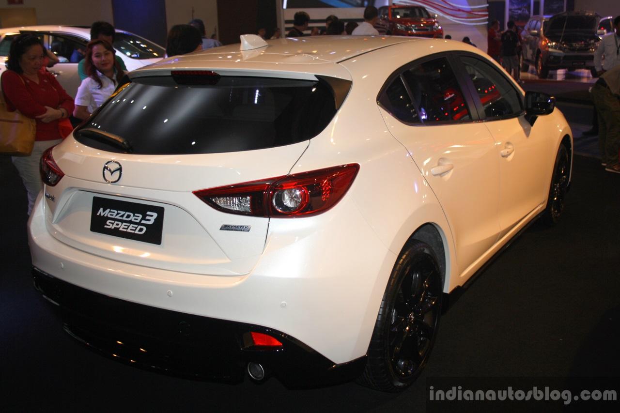 Mazda3 Speed rear three quarter at the 2014 Philippines International Motor Show