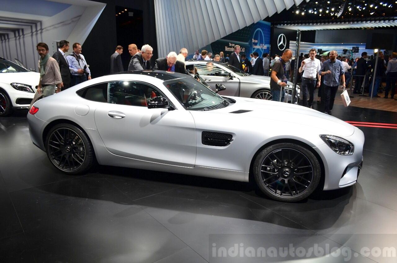 Mercedes AMG GT silver side at the 2014 Paris Motor Show