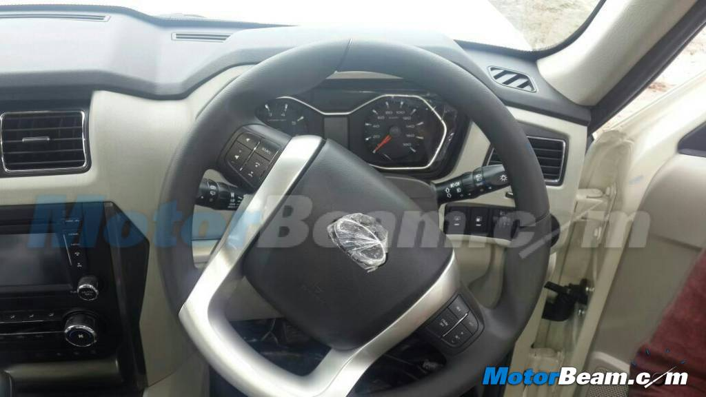 New Mahindra Scorpio spied steering