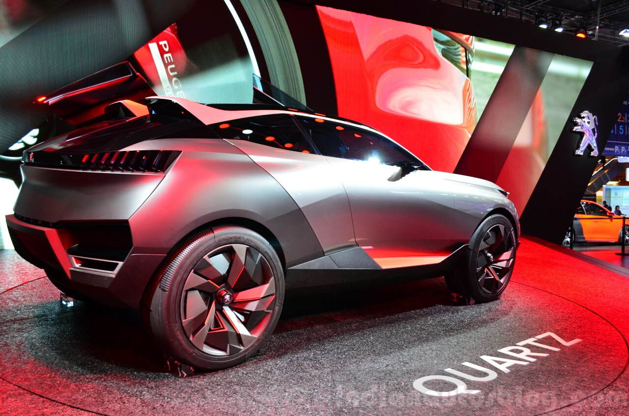 Peugeot Quartz rear three quarter view right at the 2014 Paris Motor Show