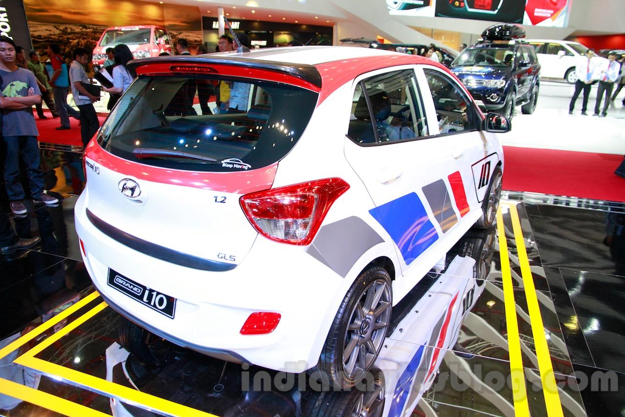 Sporty Hyundai Grand i10 at the 2014 Indonesia International Motor Show rear quarter