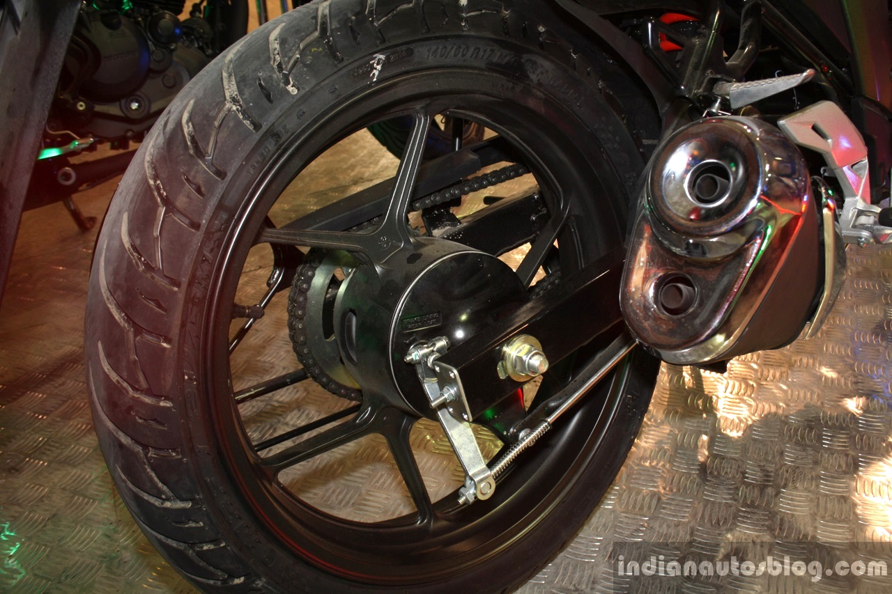 Suzuki Gixxer rear wheel at the 2014 Nepal Auto Show
