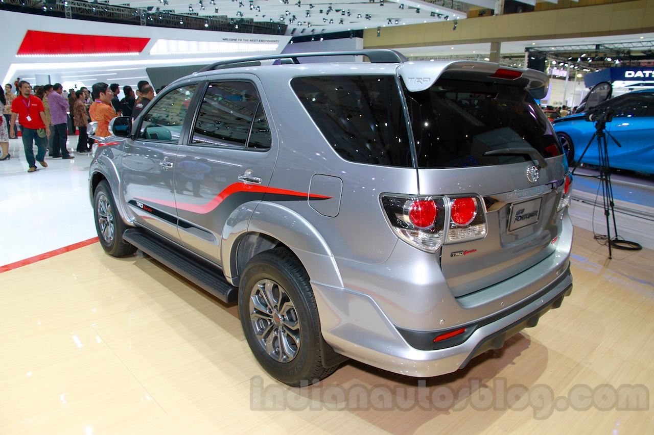 Toyota Fortuner TRD Edition rear three quarters at the Indonesian International Motor Show 2014