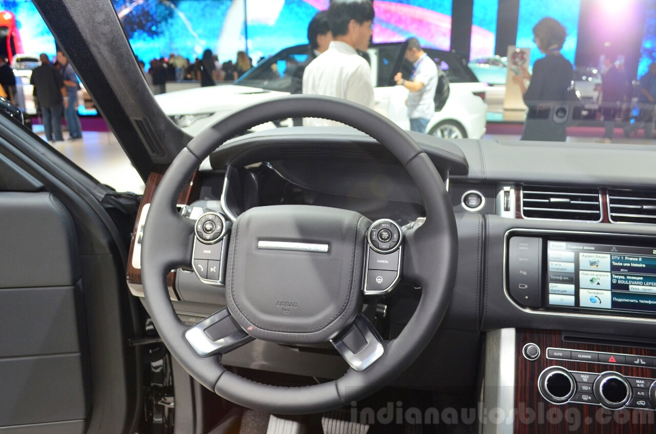 2015 Range Rover steering wheel  at the 2014 Paris Motor Show
