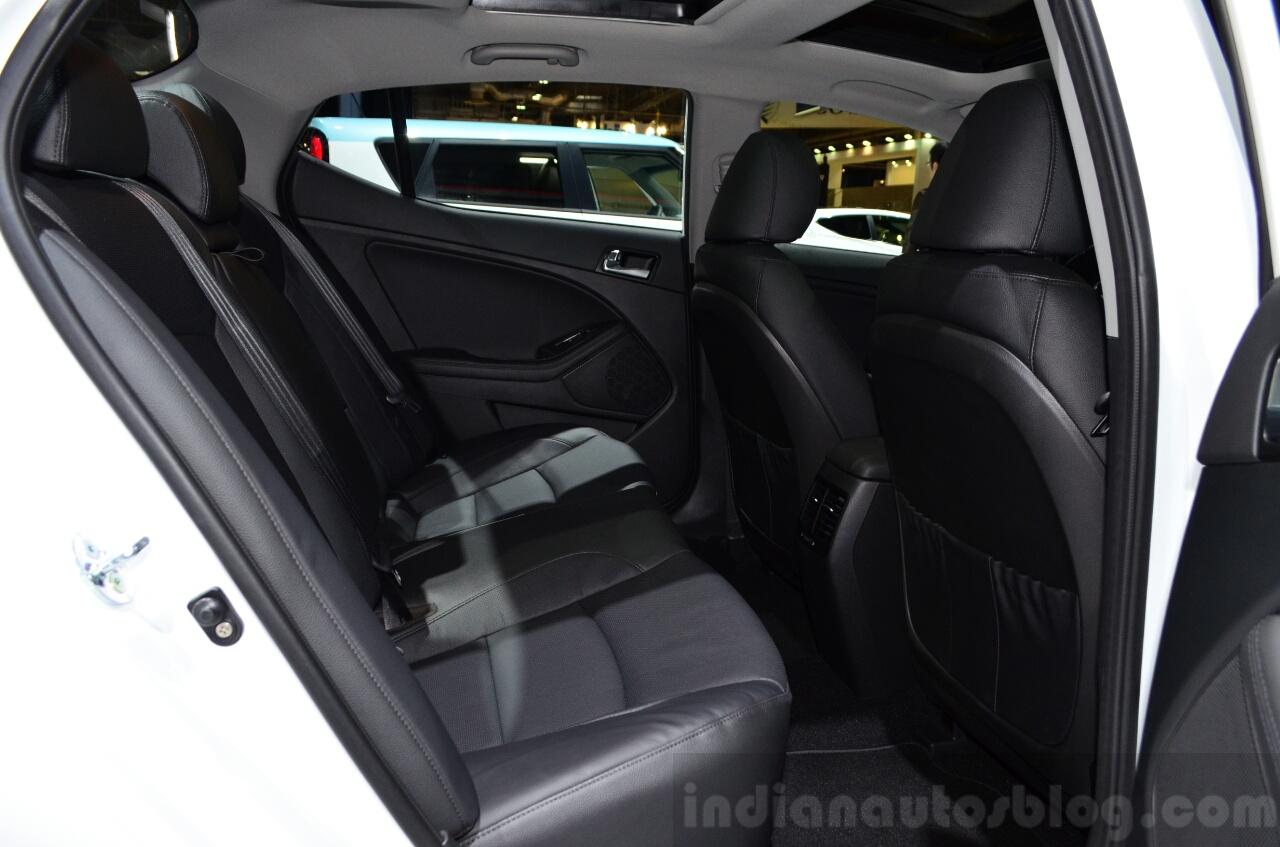Kia Optima Mild Hybrid concept rear seat at the 2014 Paris Motor Show
