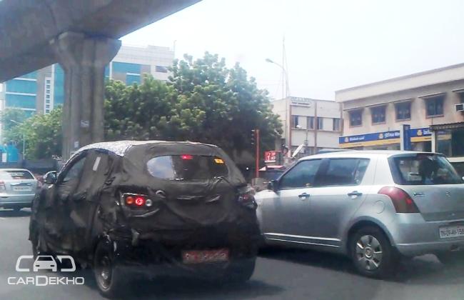 Spied Mahindra S101 with Maruti Swift in Chennai
