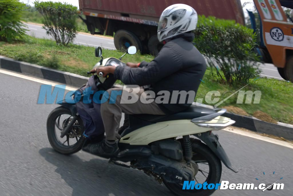 TVS Dazz spied in India rear three quarter