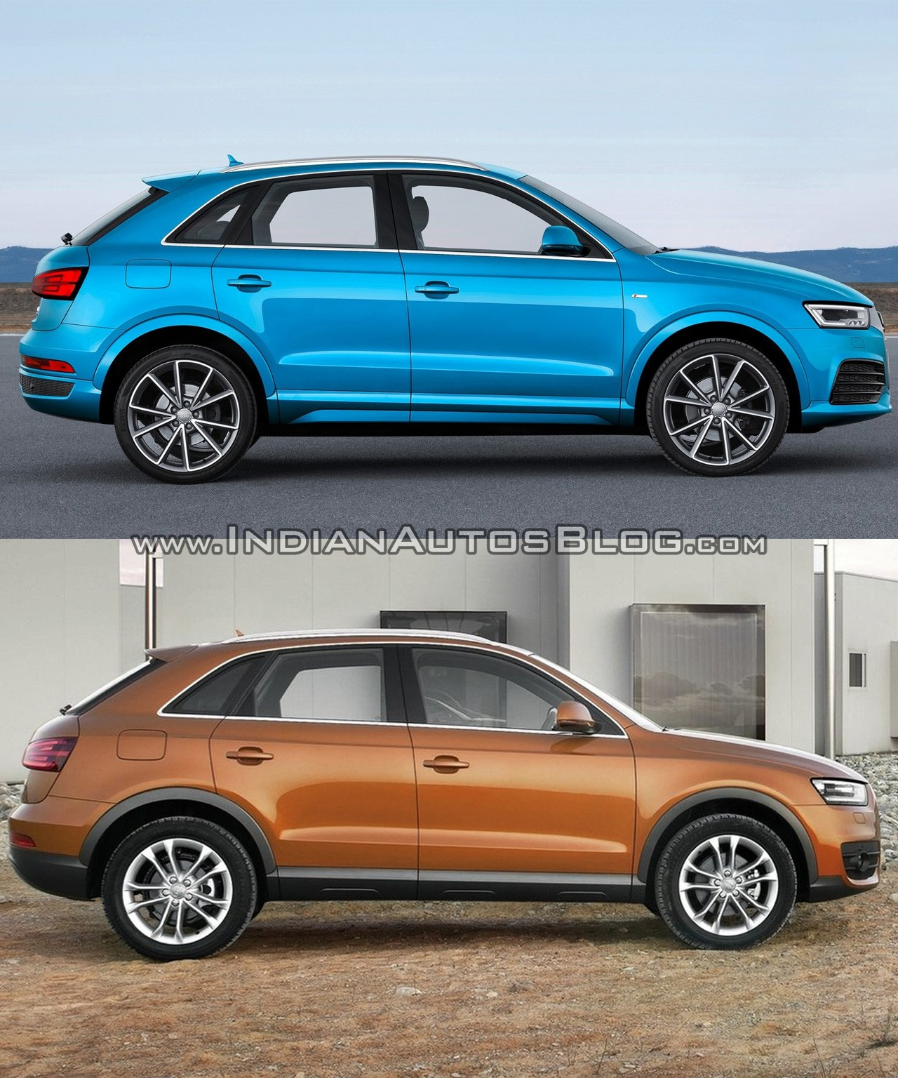 2015 Audi Q3 facelift vs older model side