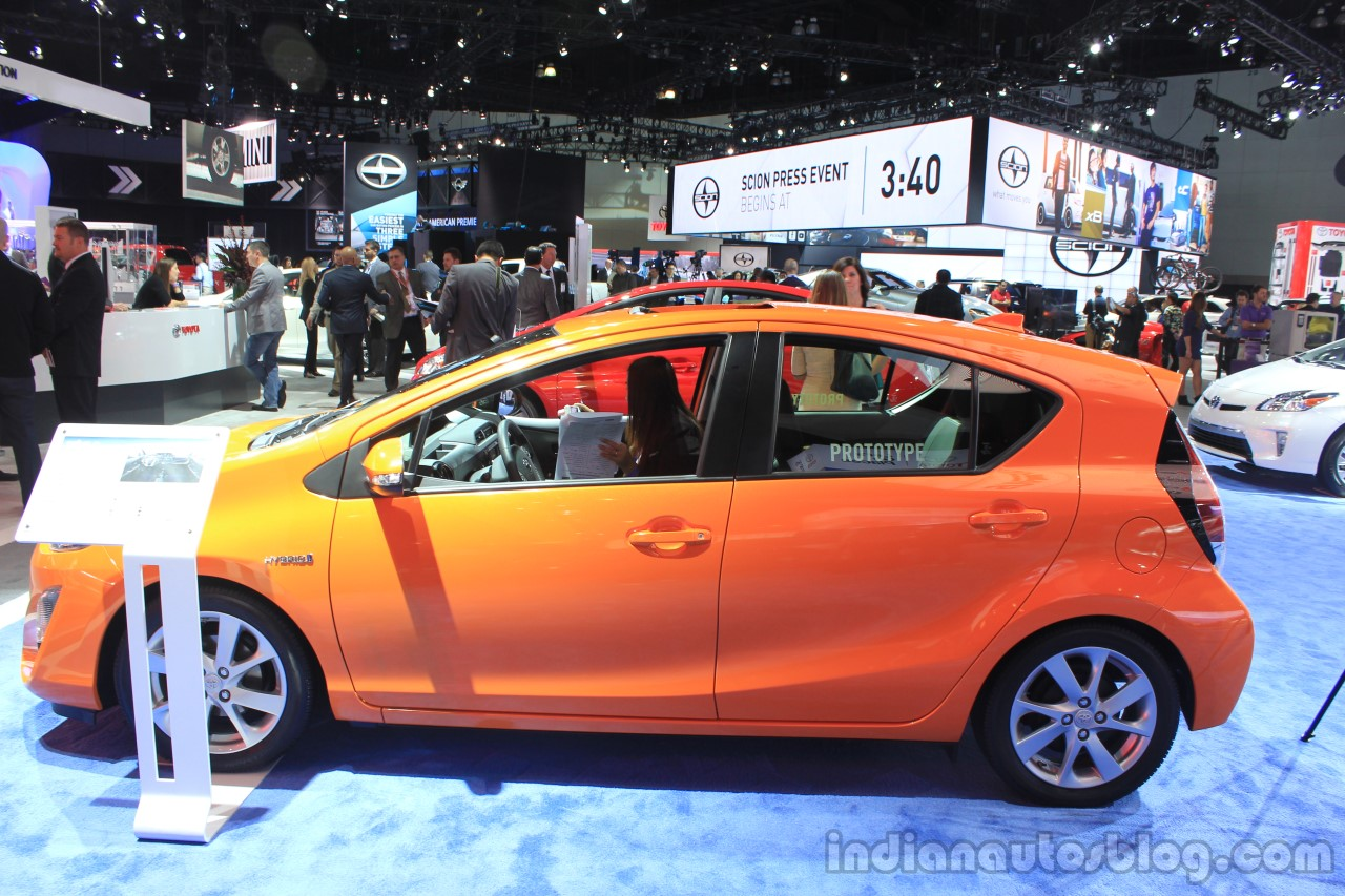 2015 Toyota Prius c side view at the 2014 Los Angeles Motor Show