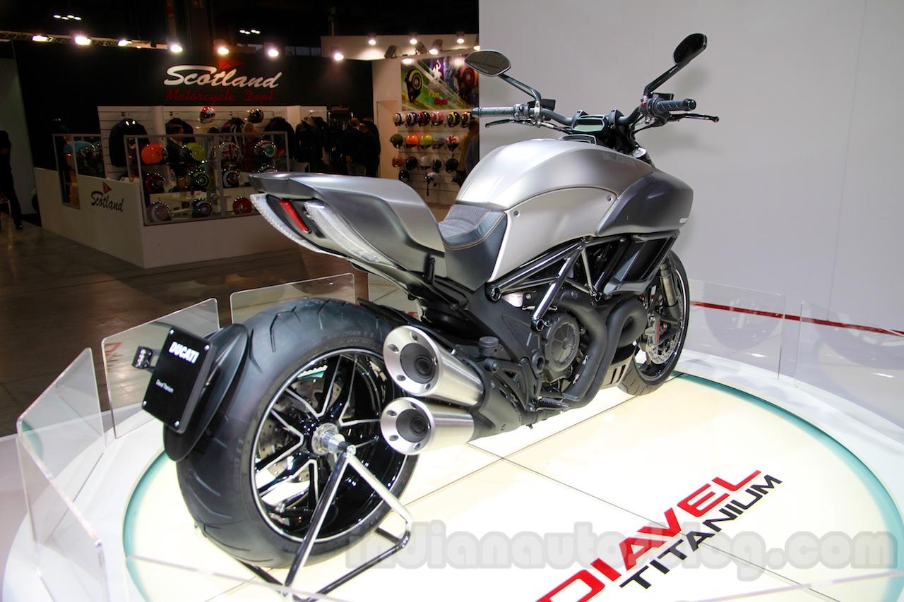 Ducati Diavel Titanium rear three quarters right at EICMA 2014