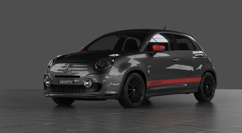 Fiat 600 rendering black front three quarter