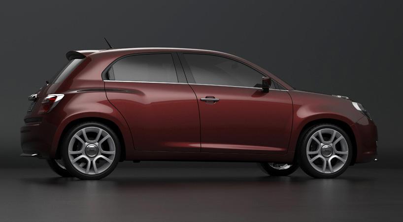 Fiat 600 rendering maroon side