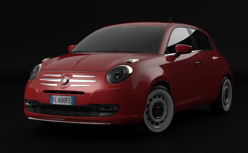 Fiat 600 rendering red