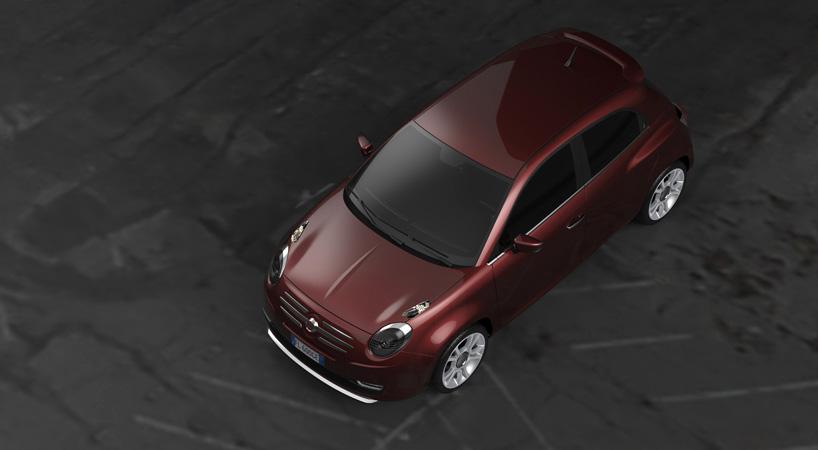 Fiat 600 rendering top view