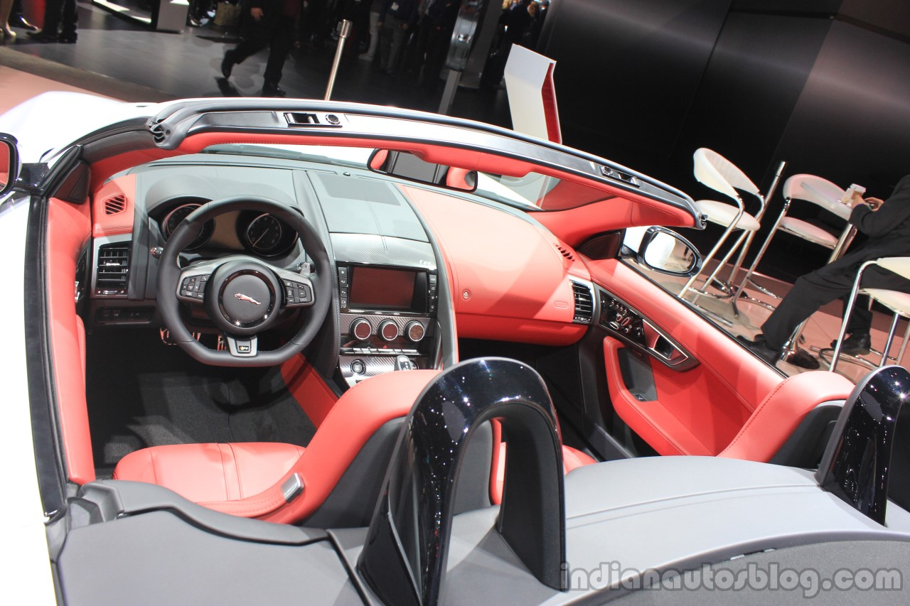 Jaguar F-Type R Coupe AWD interior at the Los Angeles Auto Show 2014
