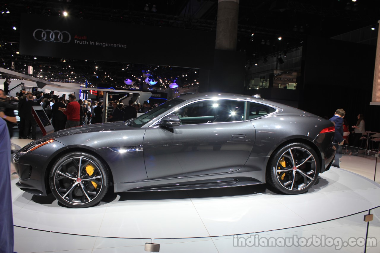 Jaguar F-Type R Coupe AWD side view at the Los Angeles Auto Show 2014