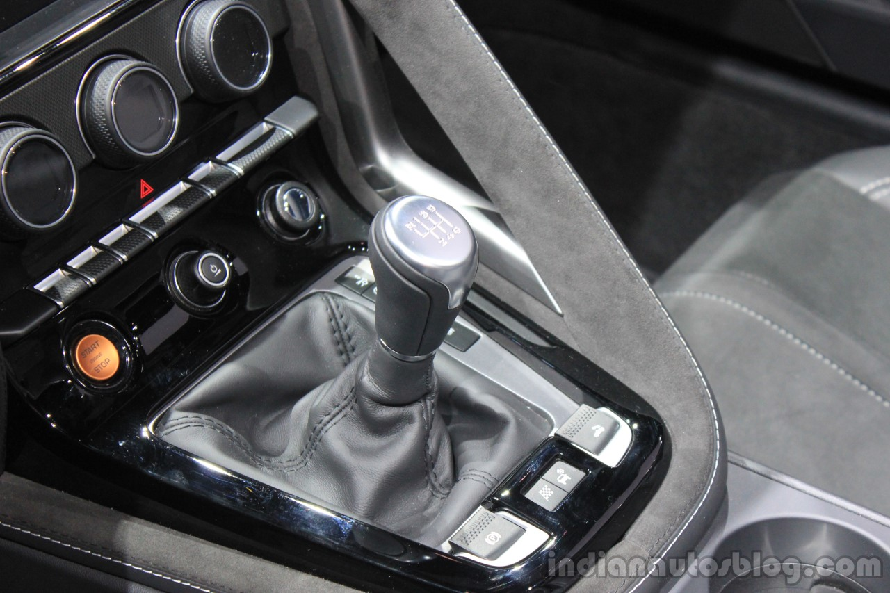 Jaguar F-Type manual transmission variant center stack at the 2014 Los Angeles Auto Show