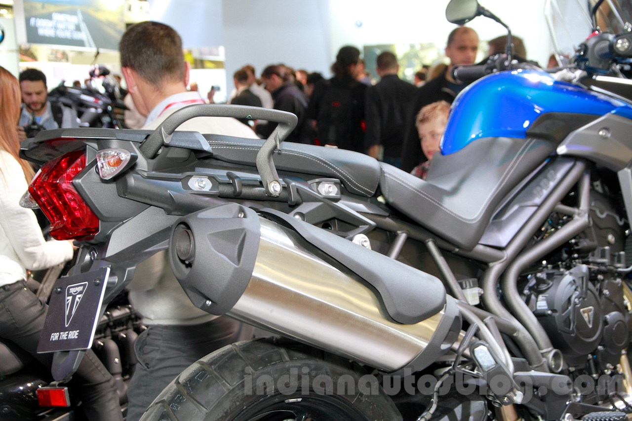 Triumph Tiger 800 XRx silencer at the EICMA 2014