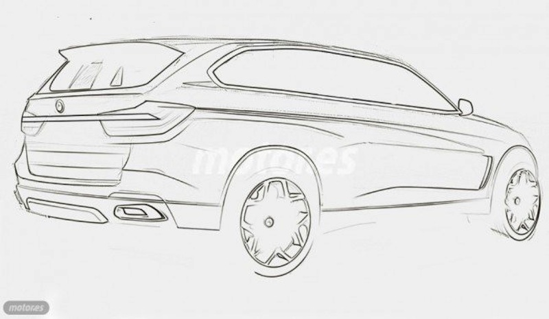 BMW X7 rear three quarters rendering sketch