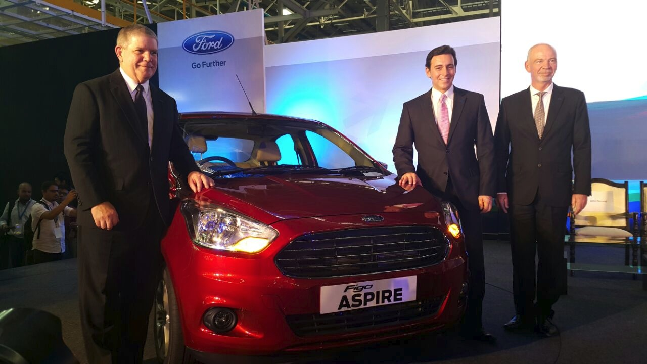 Ford Figo Aspire with Ford top officials from the Indian premiere