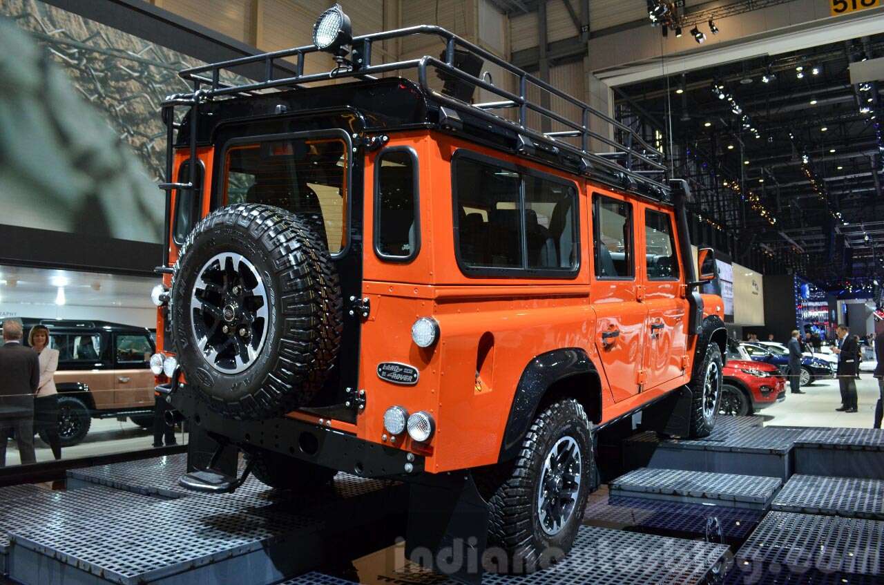 Land Rover Defender Adventure Edition rear three quarter at the 2015 Geneva Motor Show