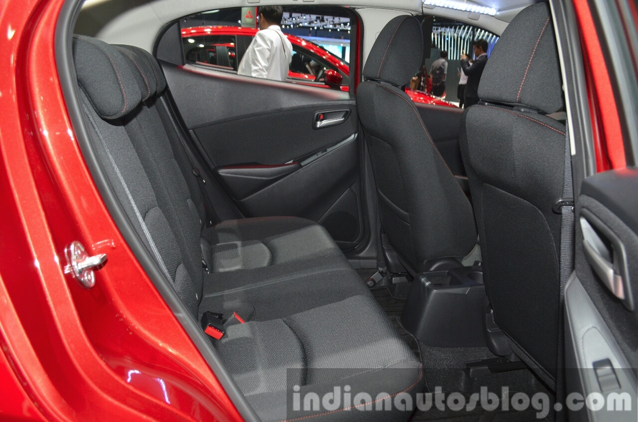 Mazda2 Sedan petrol variant rear seat at the 2015 Bangkok Motor Show
