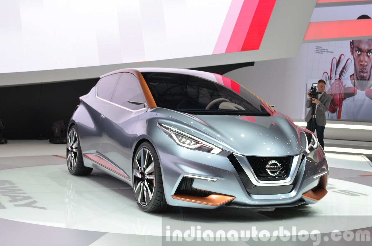 Nissan Sway Concept front three quarter at the 2015 Geneva Motor Show