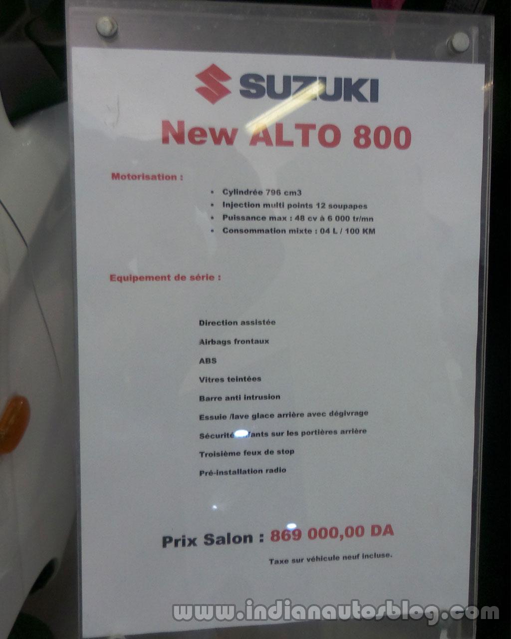 Suzuki-Alto-800-info-sheet-at-algeria-Motor-Show