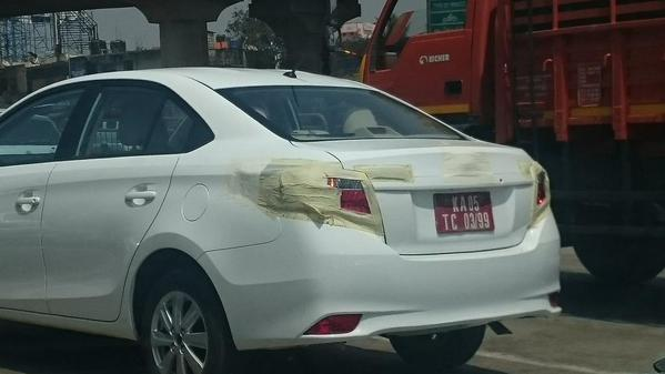 Toyota Vios rear end snapped in India