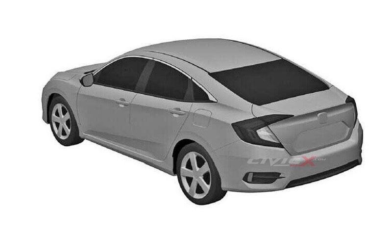 2016 Honda Civic rear three quarter patent sketch leak